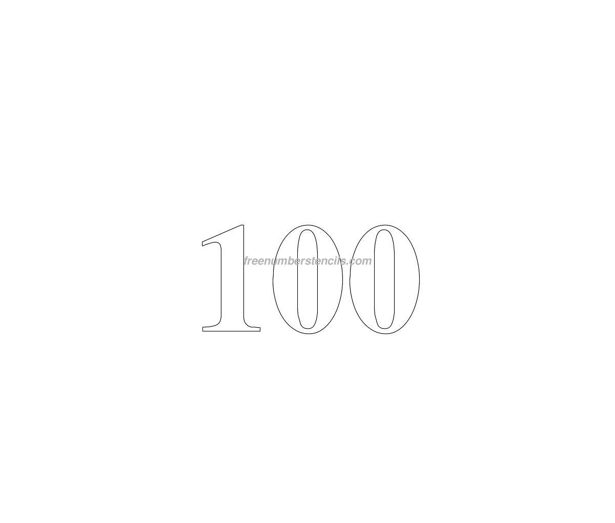 Free Huge 100 Number Stencil - Freenumberstencils.com