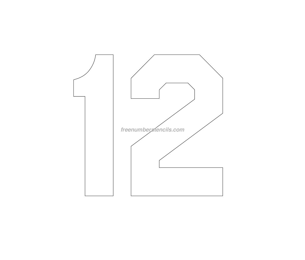 Free jersey printable 12 number stencil for Free number templates to print