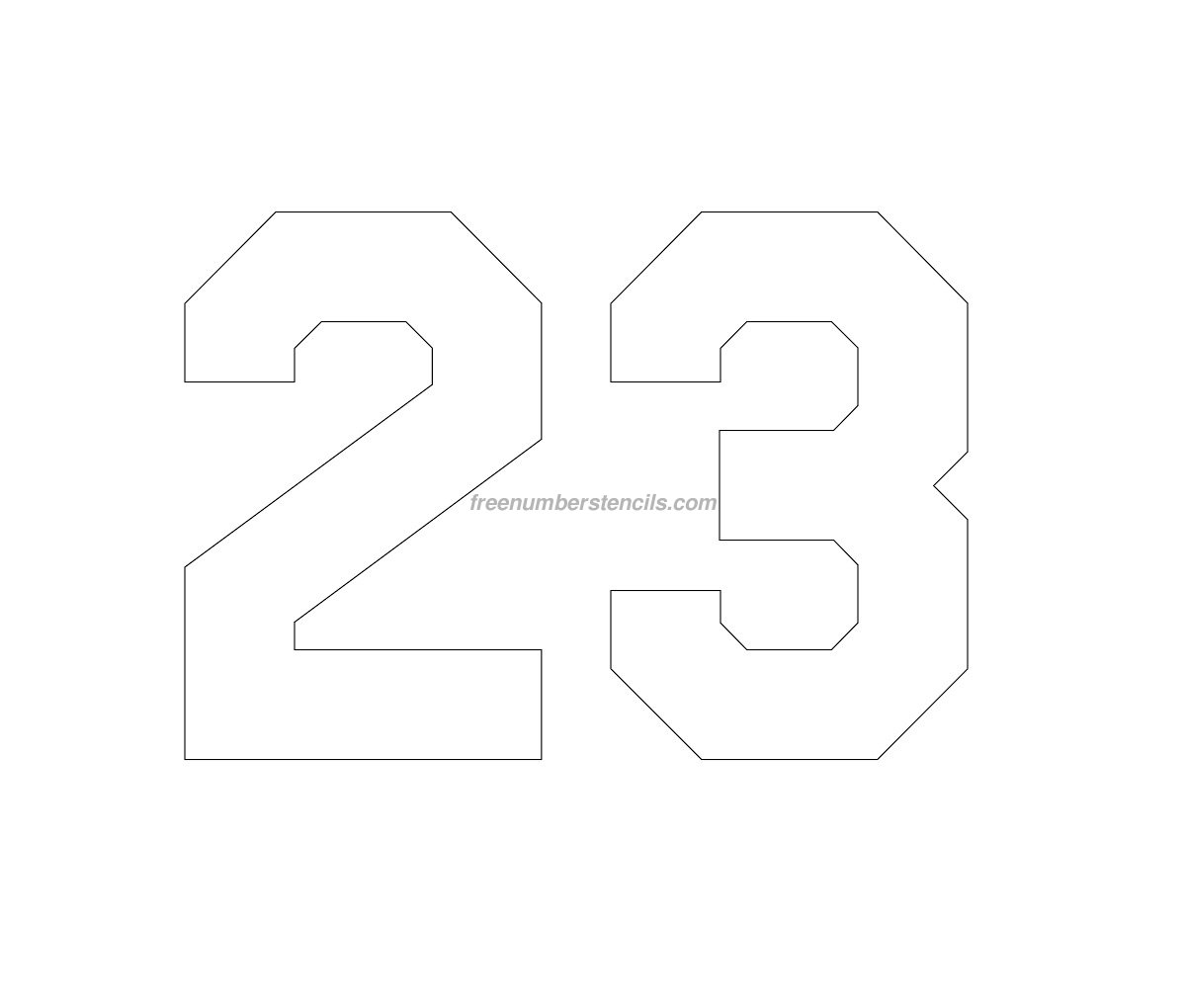 Free jersey printable 23 number stencil freenumberstencilscom for Free numbers templates