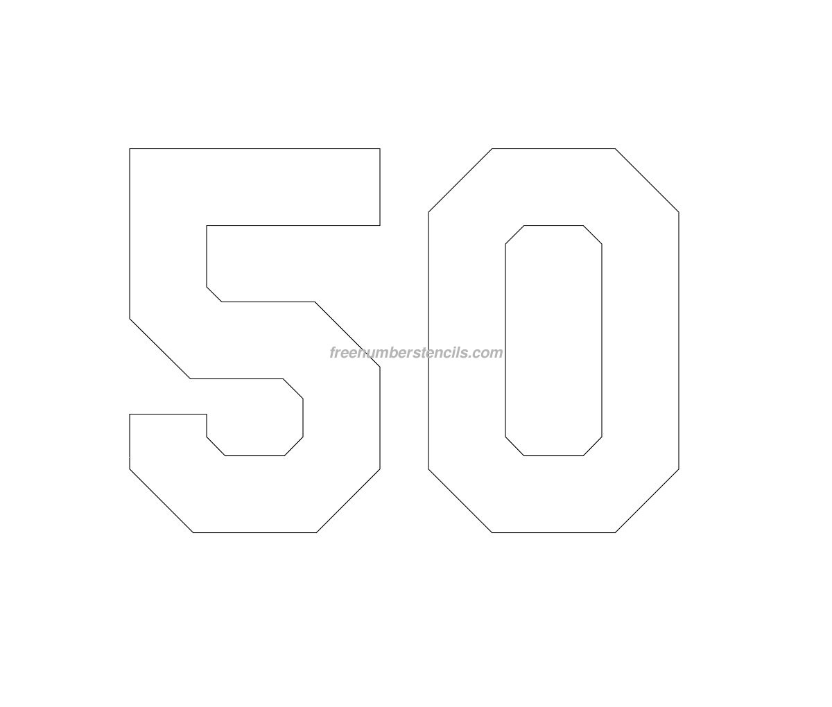 Free jersey printable 50 number stencil for Free number templates to print