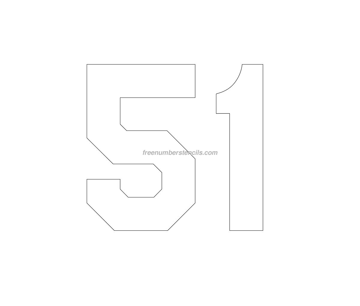 Free Jersey Printable 51 Number Stencil