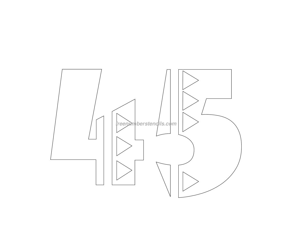 Free Mexican 45 Number Stencil - Freenumberstencils.com