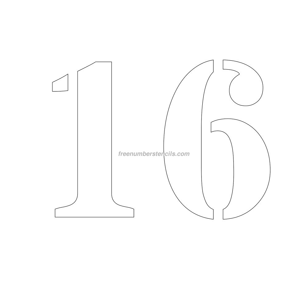 Free 10 inch 16 number stencil for Free numbers templates