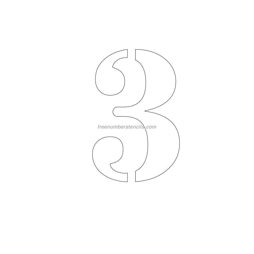 Free 10 inch 3 number stencil for Free numbers templates