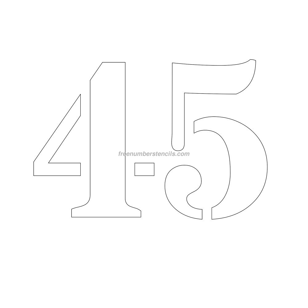 Free 10 inch 45 number stencil for Free number templates to print