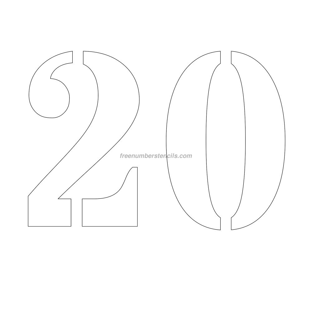 Free 11 inch 20 number stencil for Free number templates to print