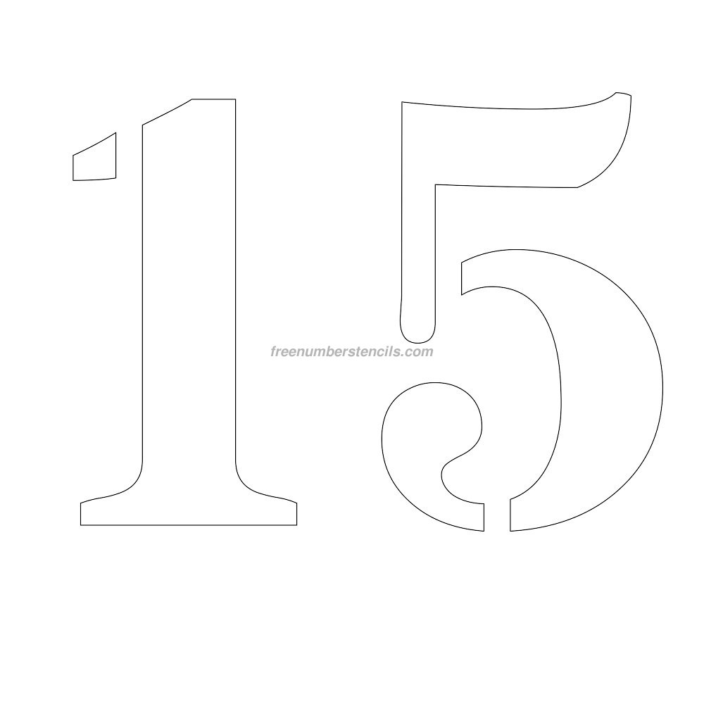 Free 12 inch 15 number stencil for Free number templates to print