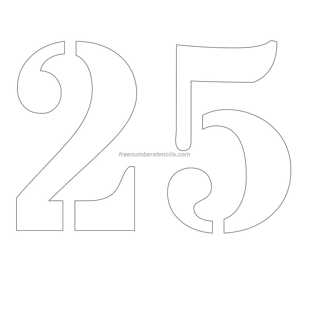 Free 12 Inch 25 Number Stencil