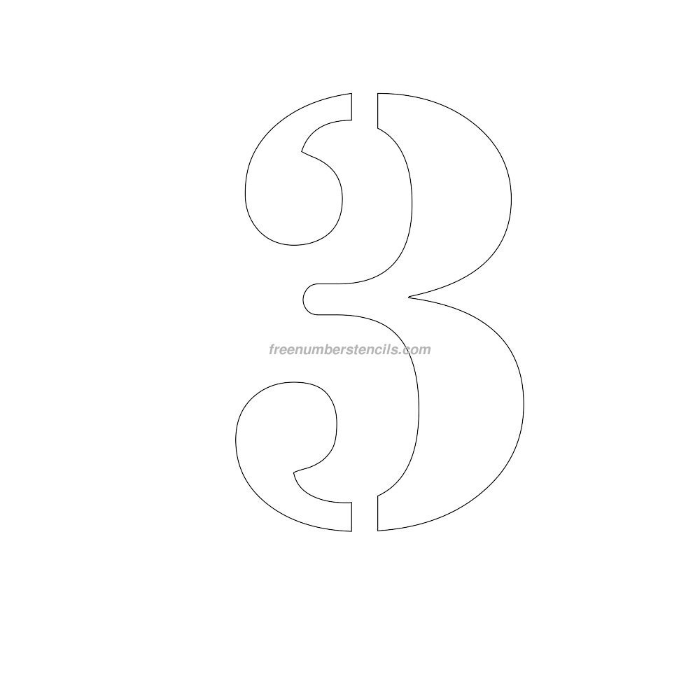 free number templates to print - free 12 inch 3 number stencil