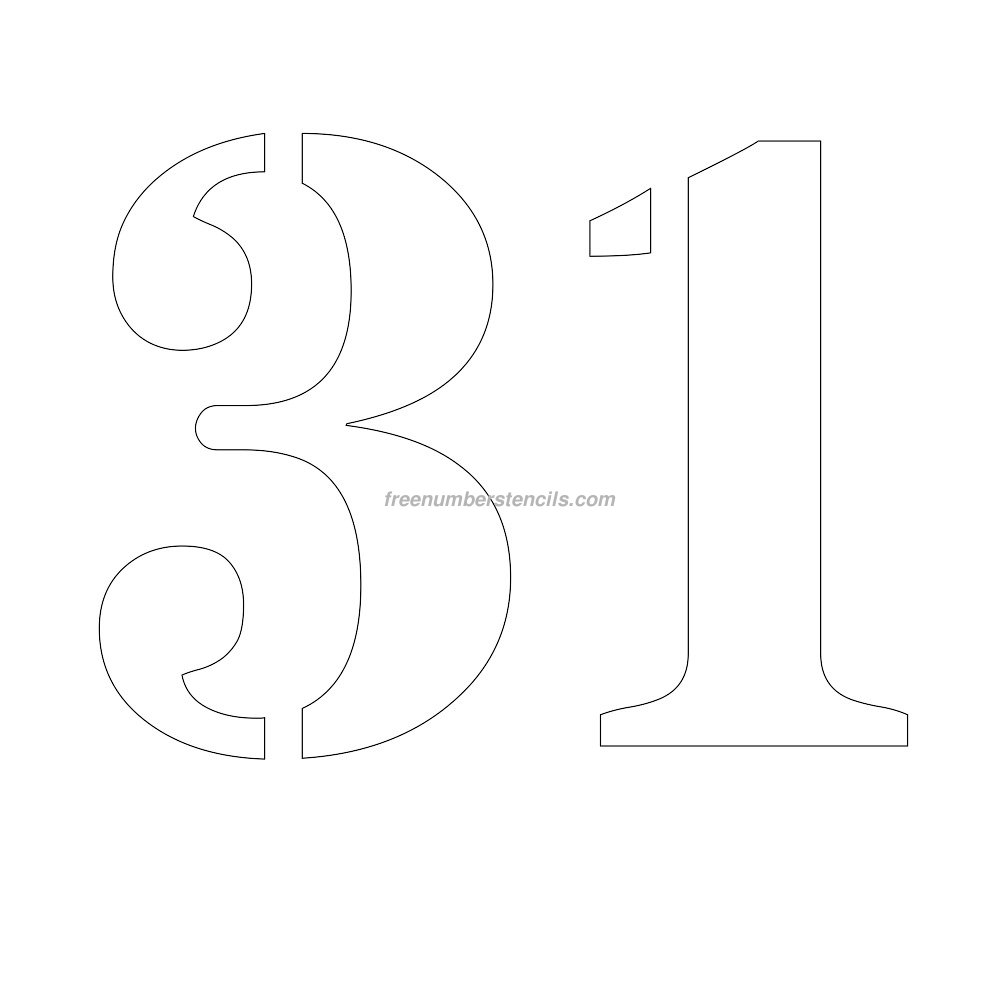 Free 12 Inch 31 Number Stencil