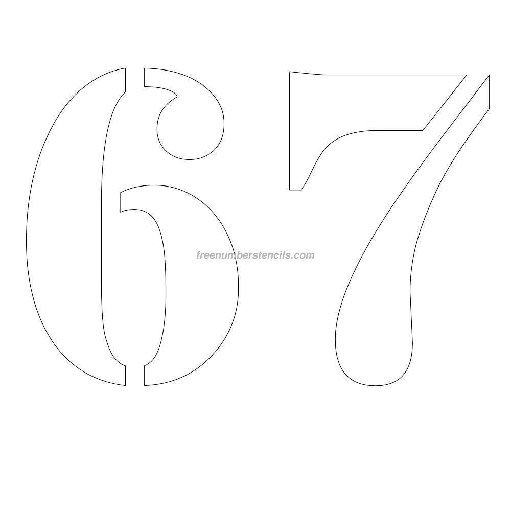Free 12 inch 67 number stencil for Free number templates to print