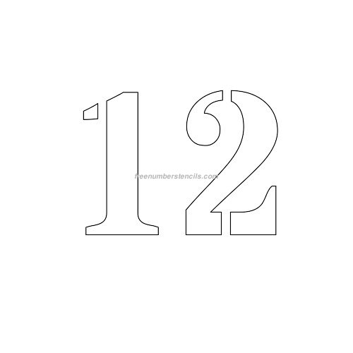 Free 4 Inch 12 Number Stencil