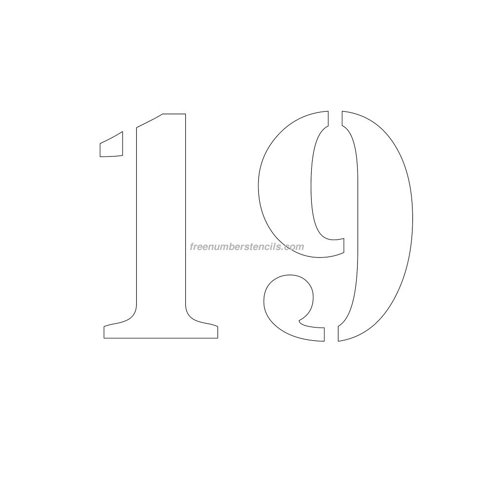 Free 9 Inch 19 Number Stencil