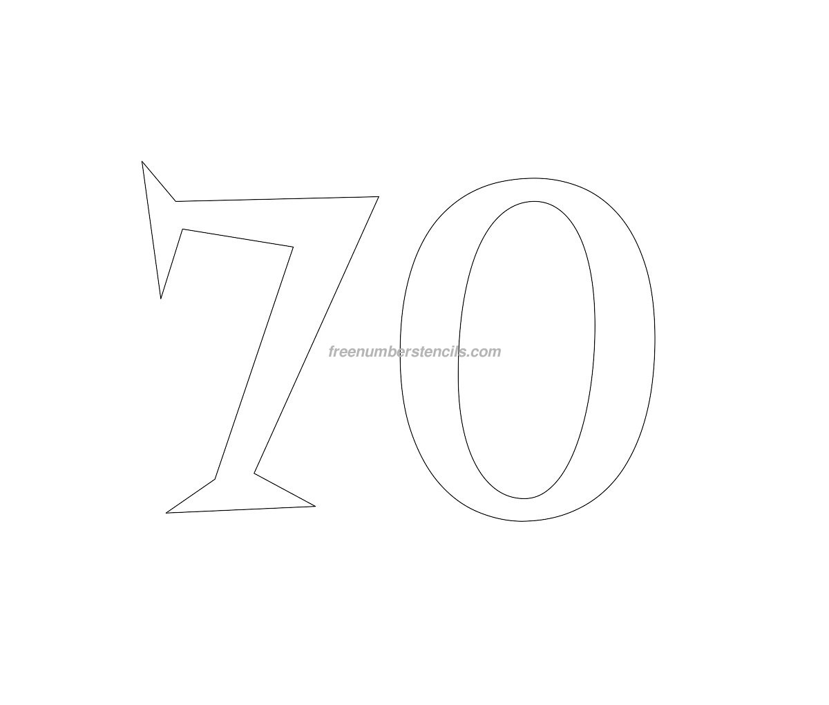 free retro 70 number stencil