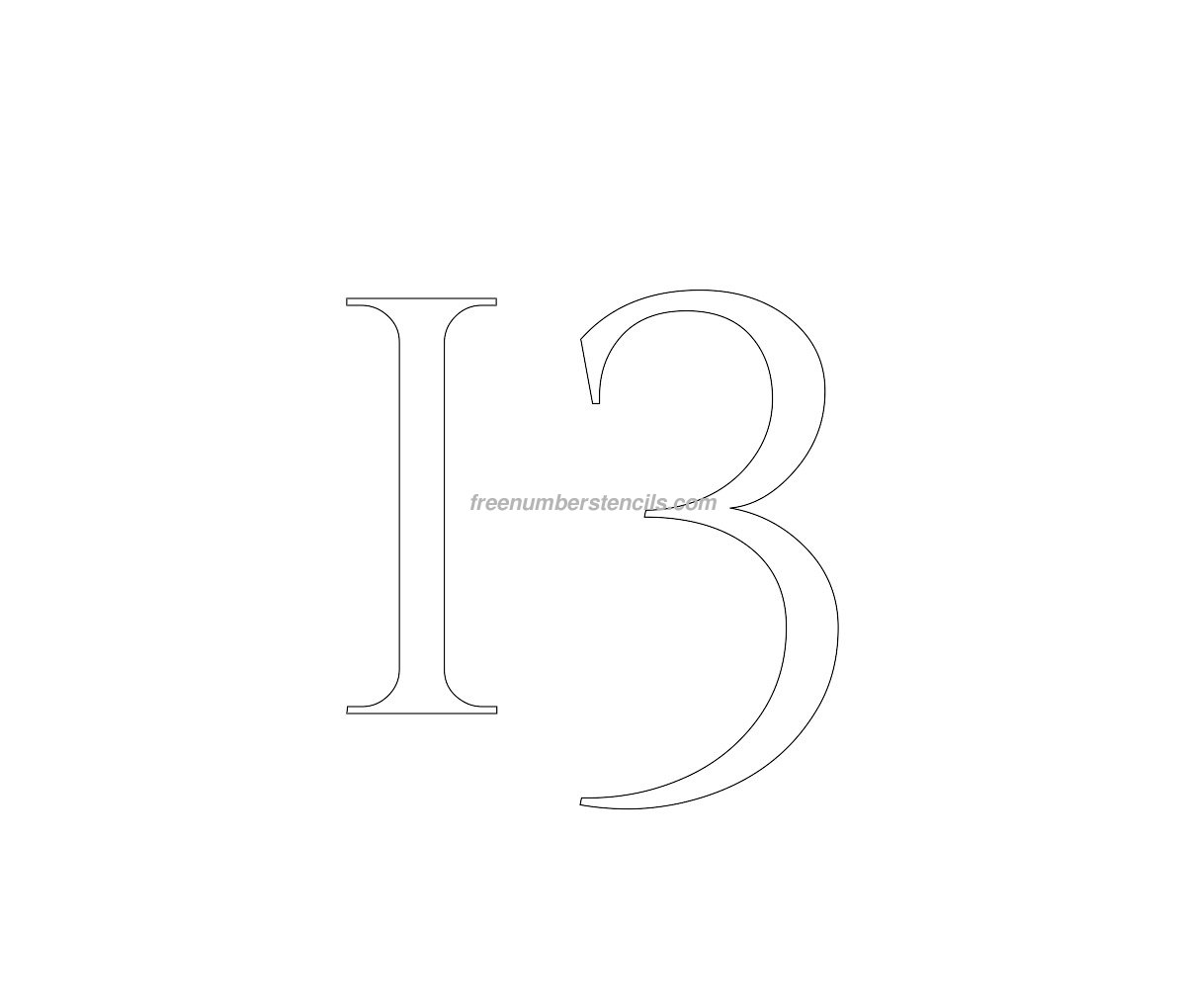 stencil-roman-greek-number-13