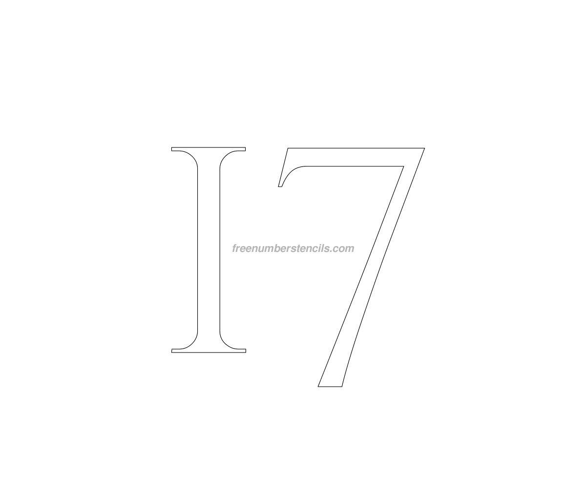 stencil-roman-greek-number-17