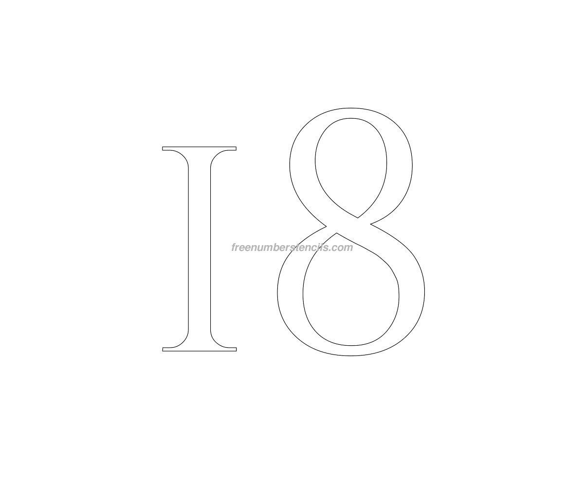 stencil-roman-greek-number-18