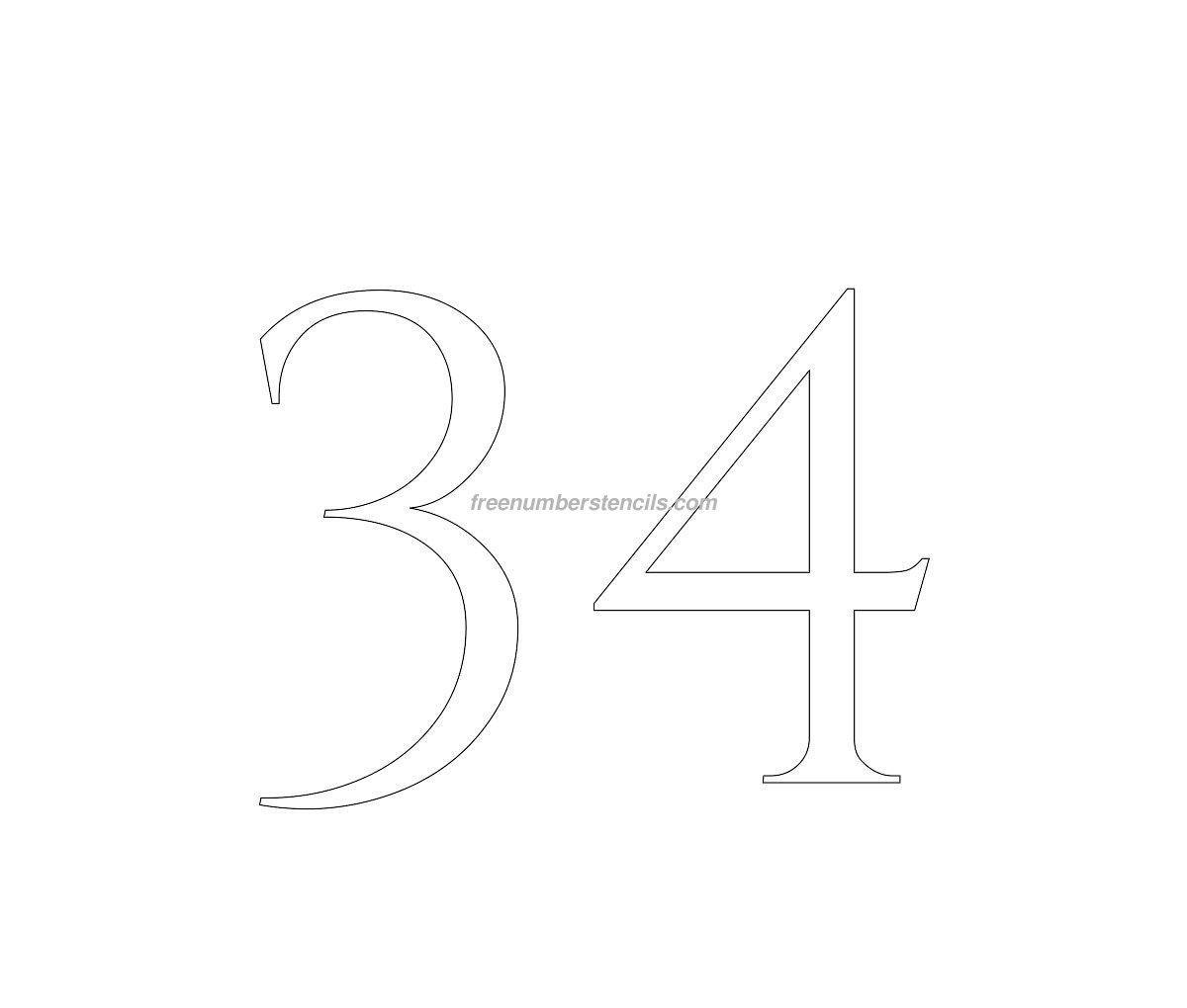 Free Roman Greek 34 Number Stencil - Freenumberstencils.com