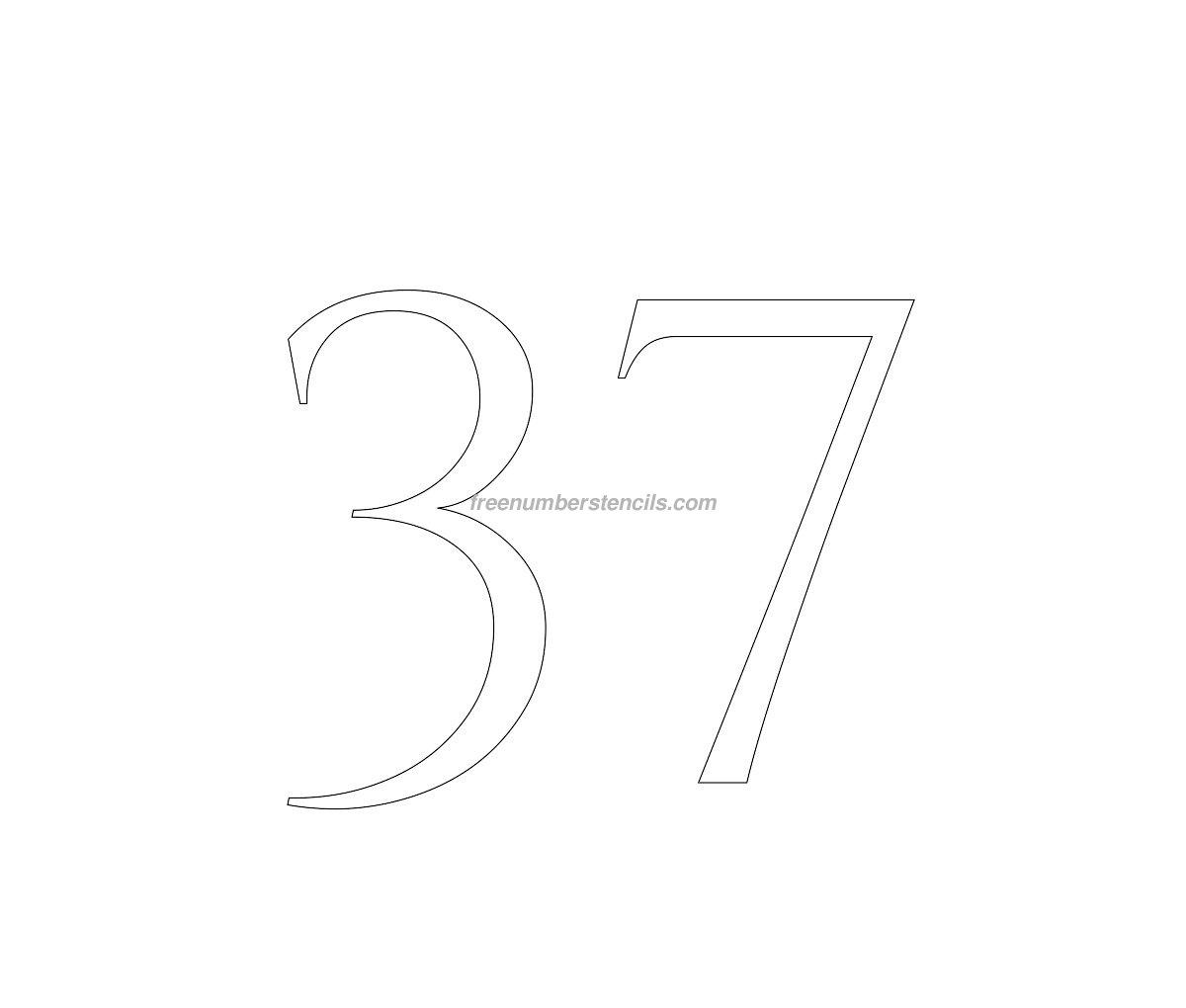 stencil-roman-greek-number-37