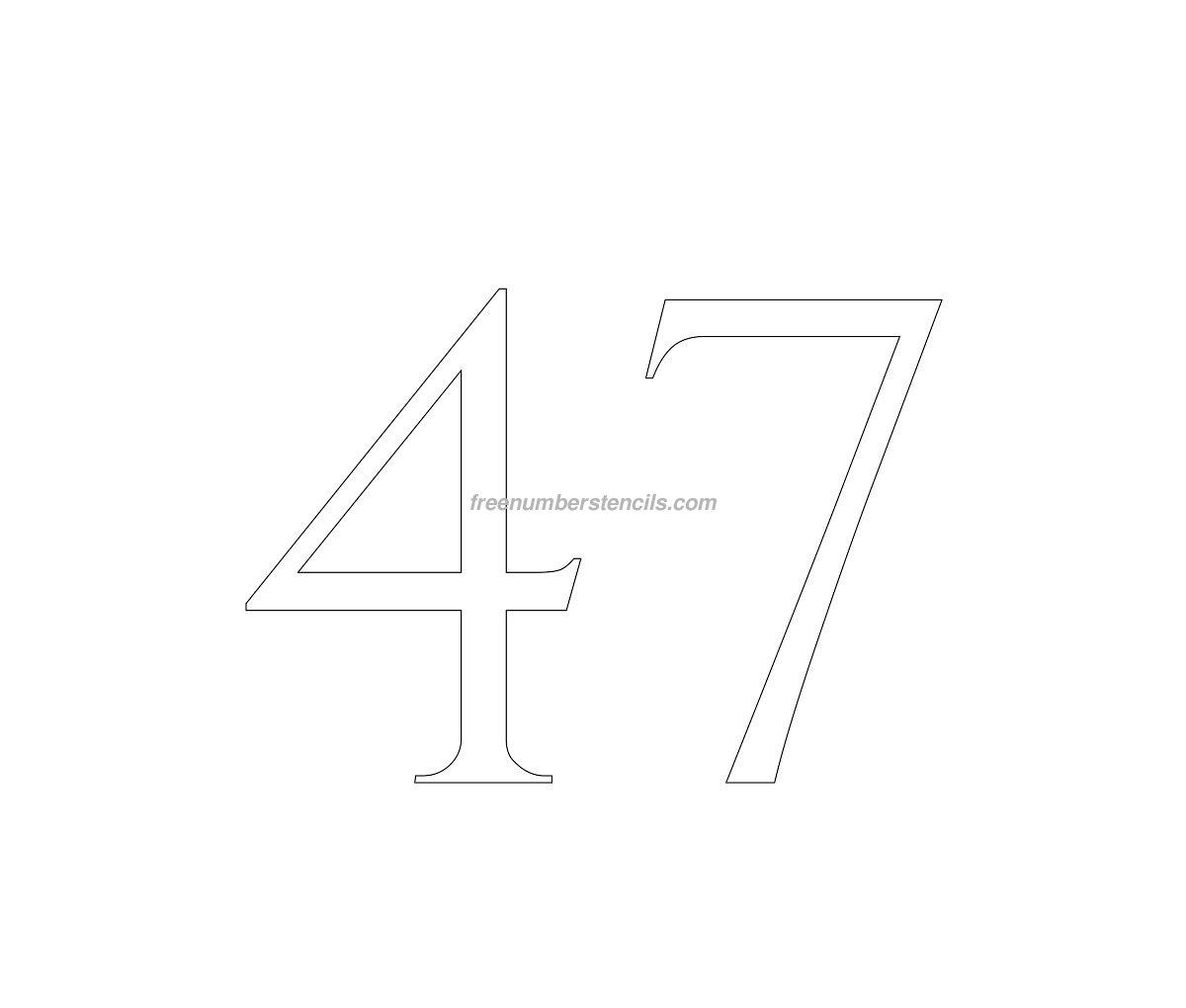 stencil-roman-greek-number-47