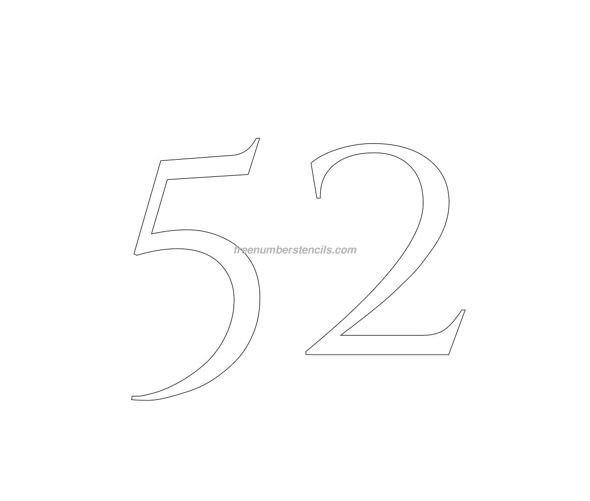 stencil-roman-greek-number-52