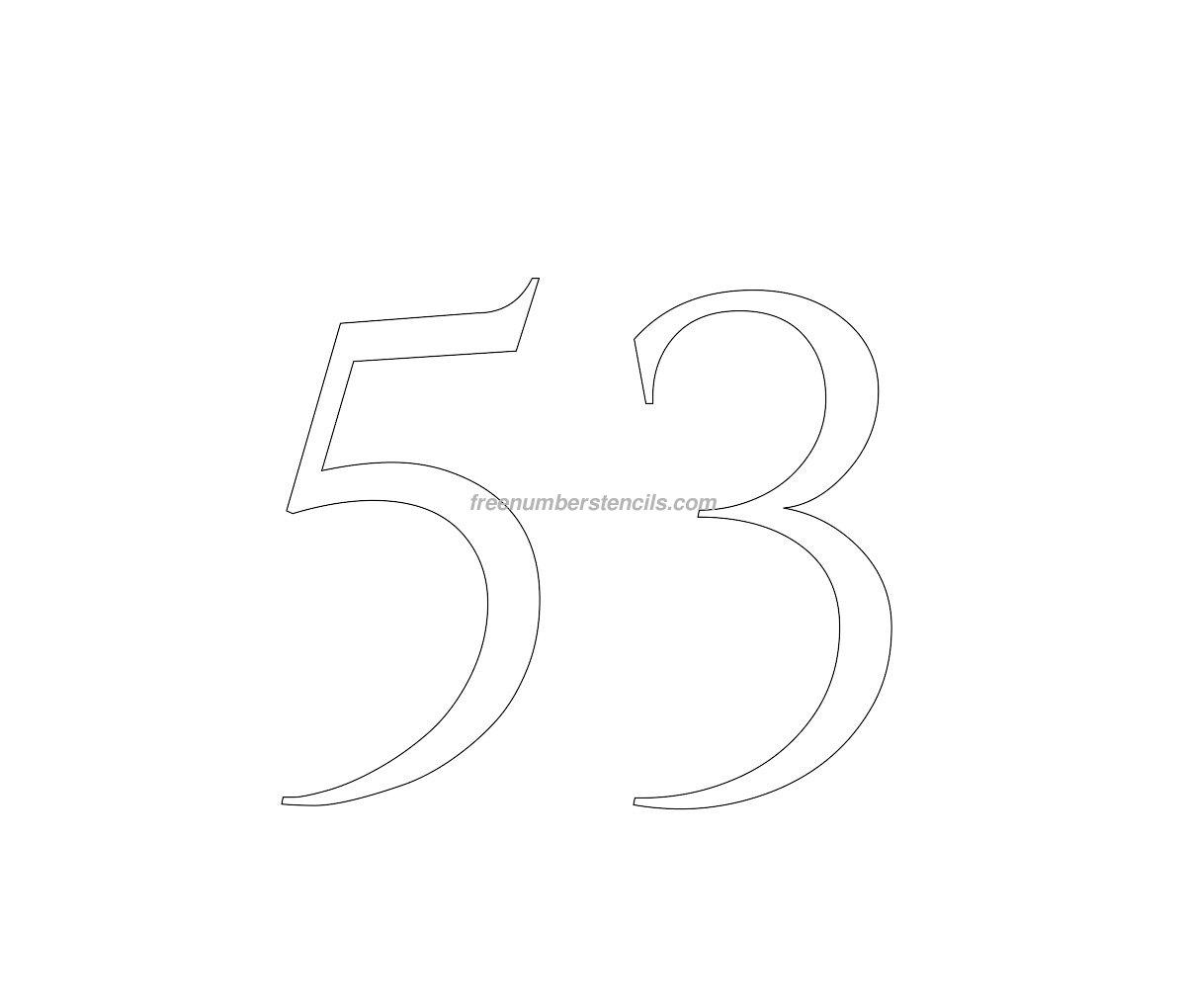 stencil-roman-greek-number-53