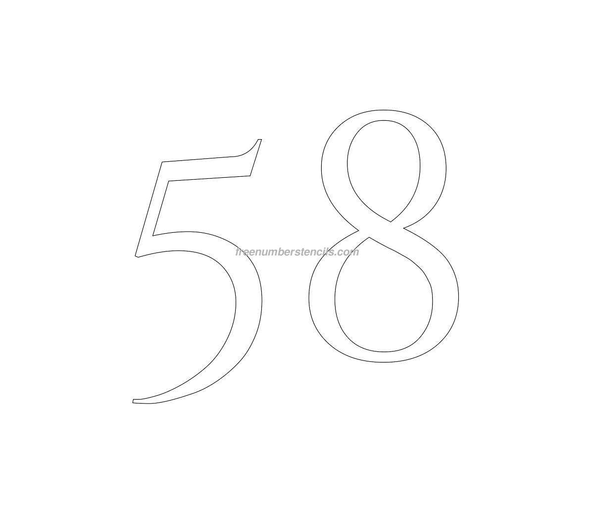 stencil-roman-greek-number-58