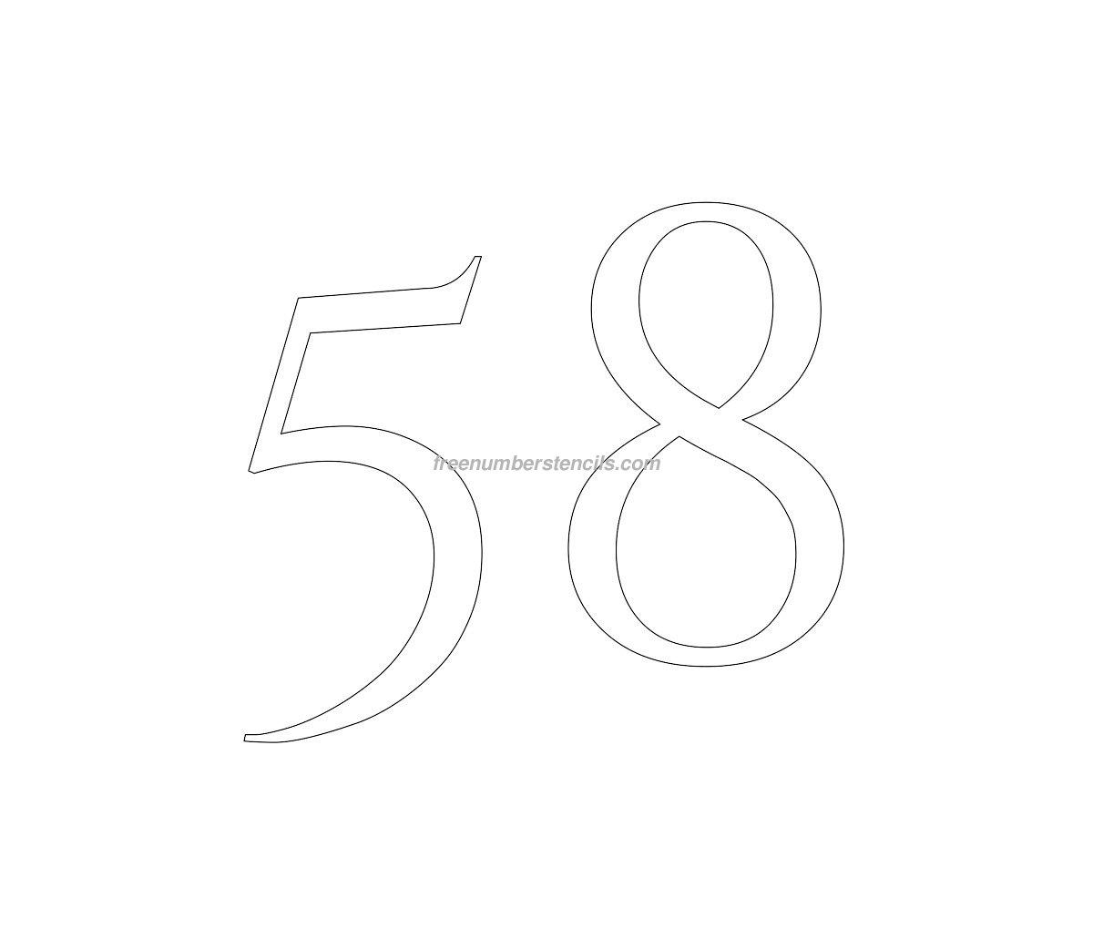 stencil-roman-greek-number-58