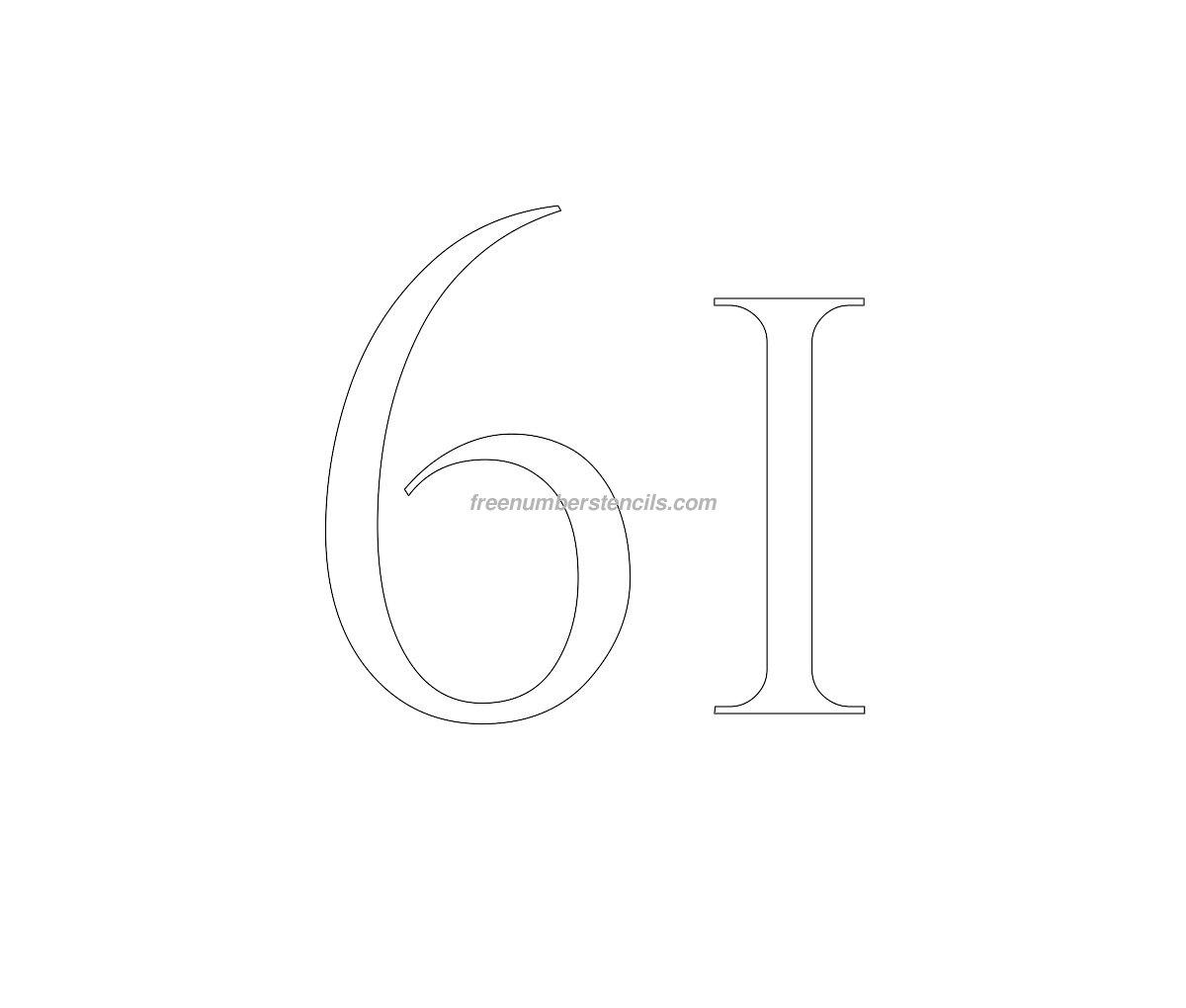 stencil-roman-greek-number-61