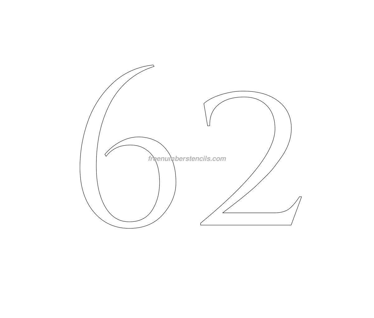 stencil-roman-greek-number-62