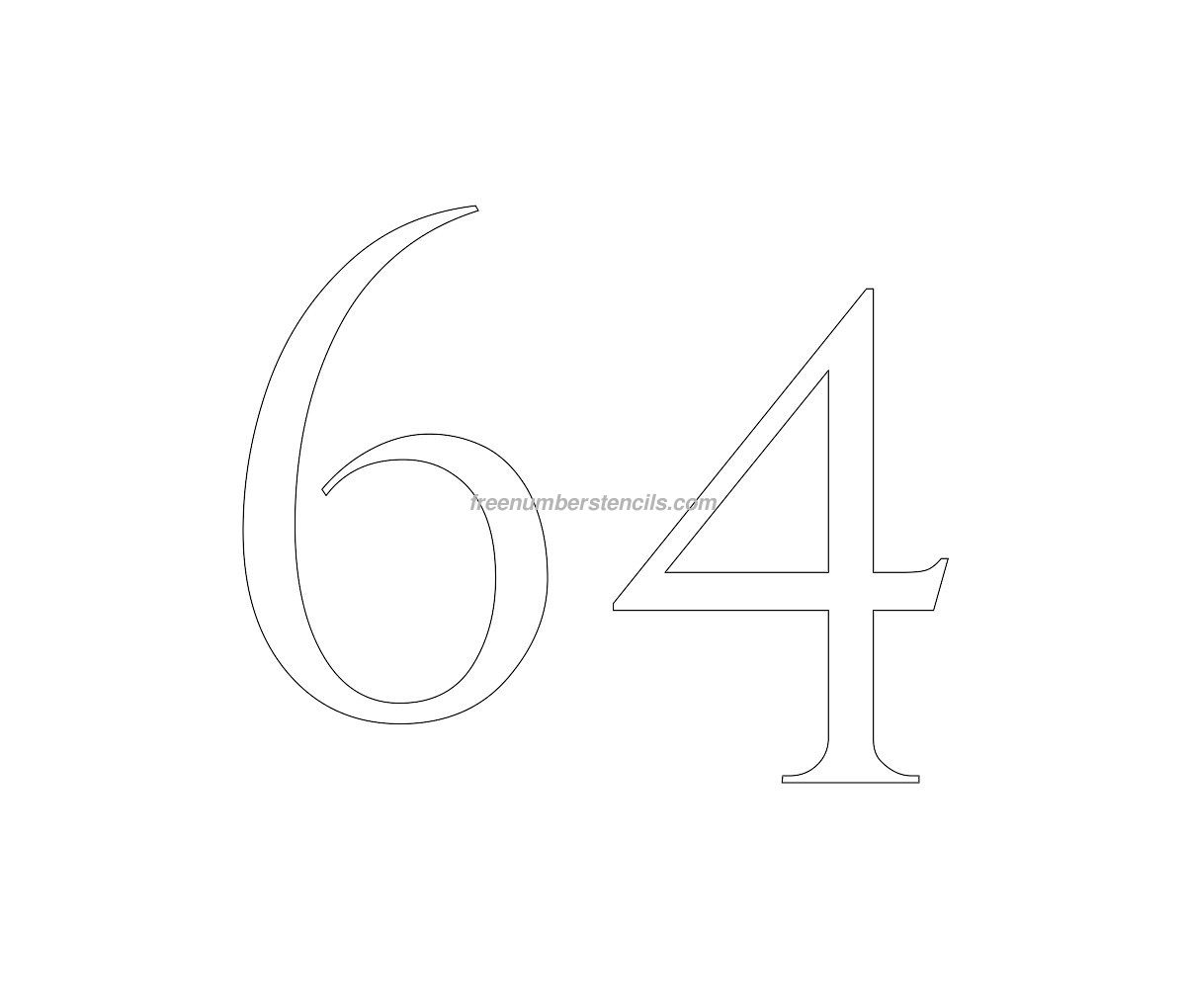 stencil-roman-greek-number-64