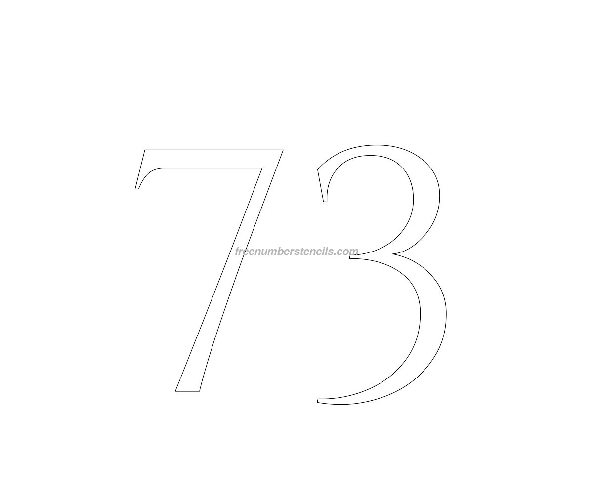 stencil-roman-greek-number-73