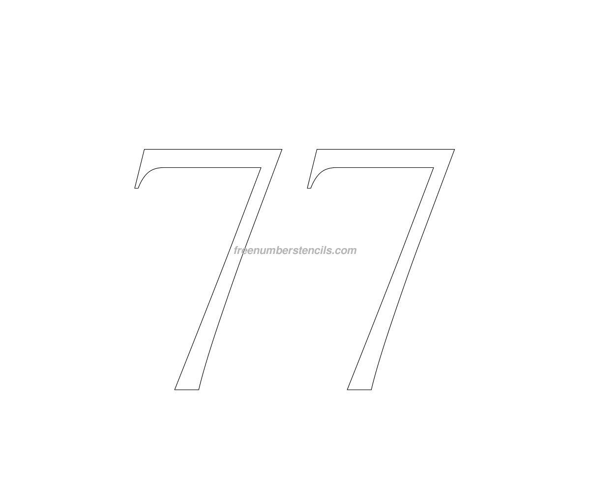 stencil-roman-greek-number-77