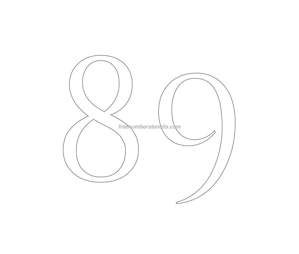 stencil-roman-greek-number-89