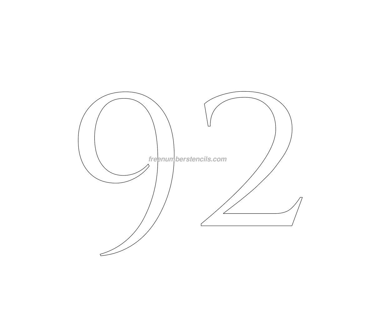stencil-roman-greek-number-92