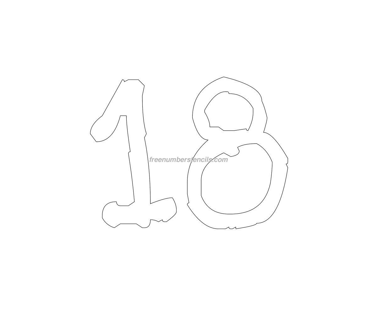 Free Rustic 18 Number Stencil - Freenumberstencils.com