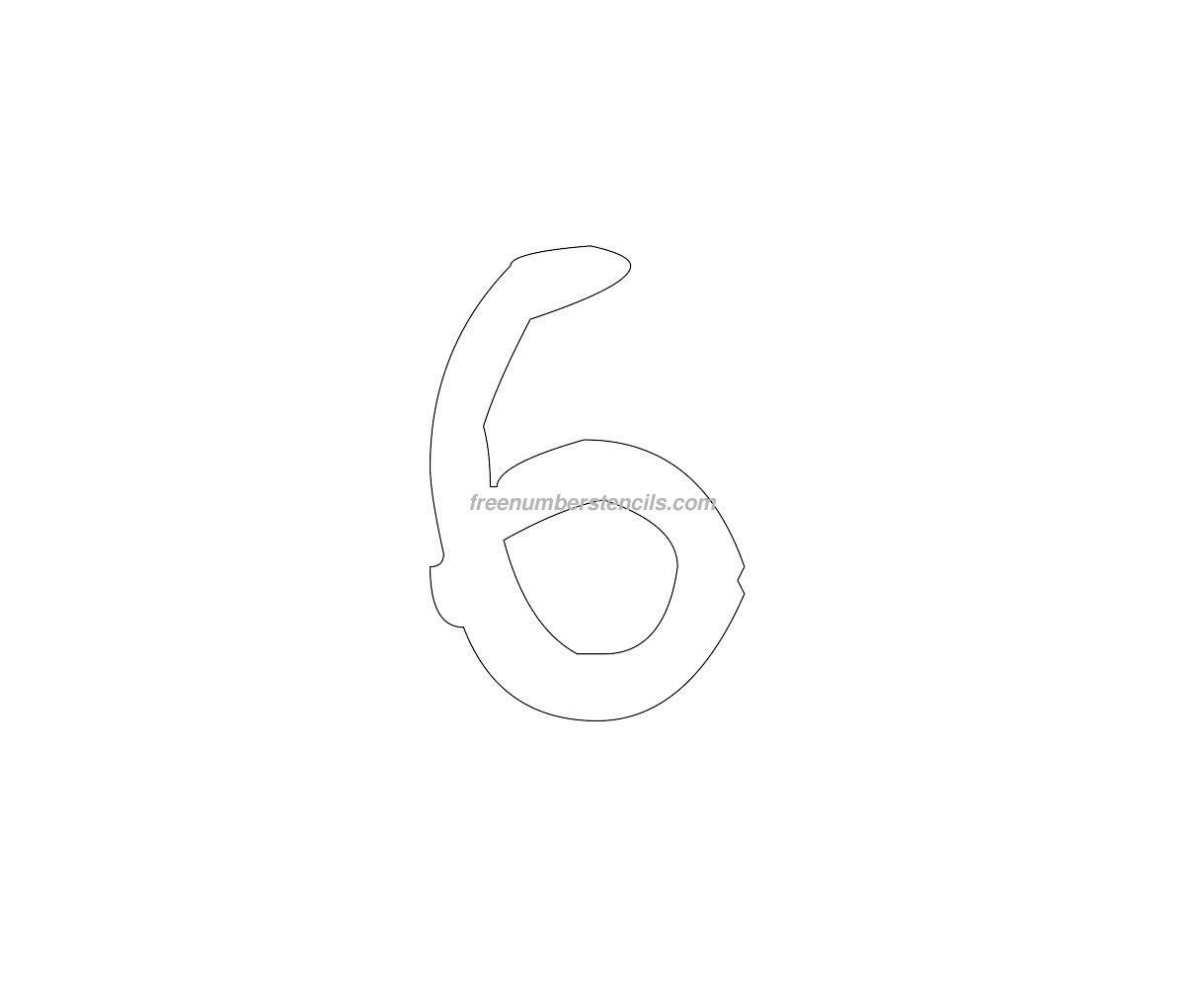 Free Rustic 6 Number Stencil - Freenumberstencils.com