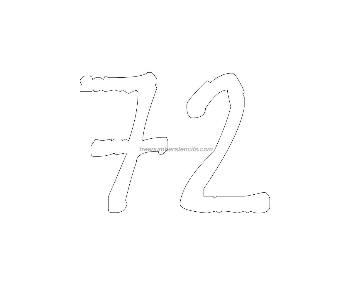 Free Rustic 72 Number Stencil - Freenumberstencils.com