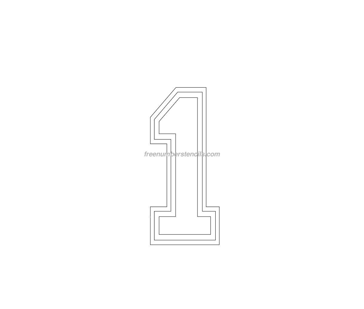 free varsity 1 number stencil