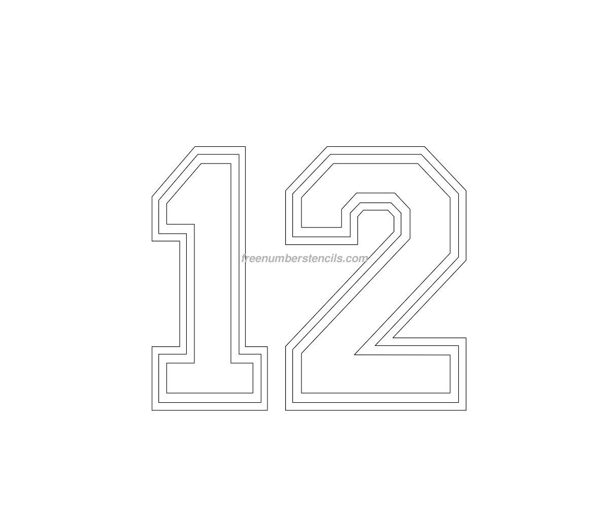 free varsity 12 number stencil