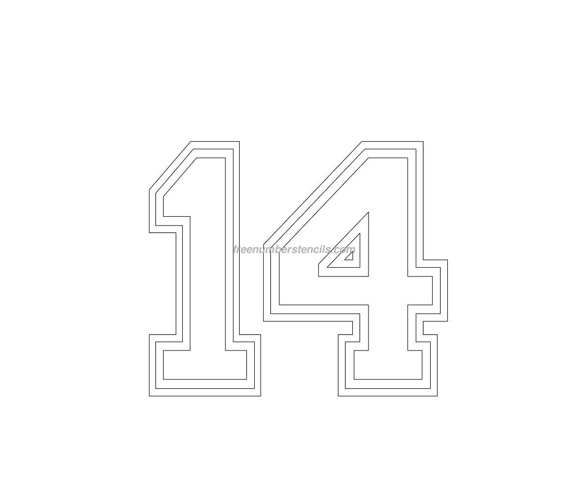 free varsity 14 number stencil