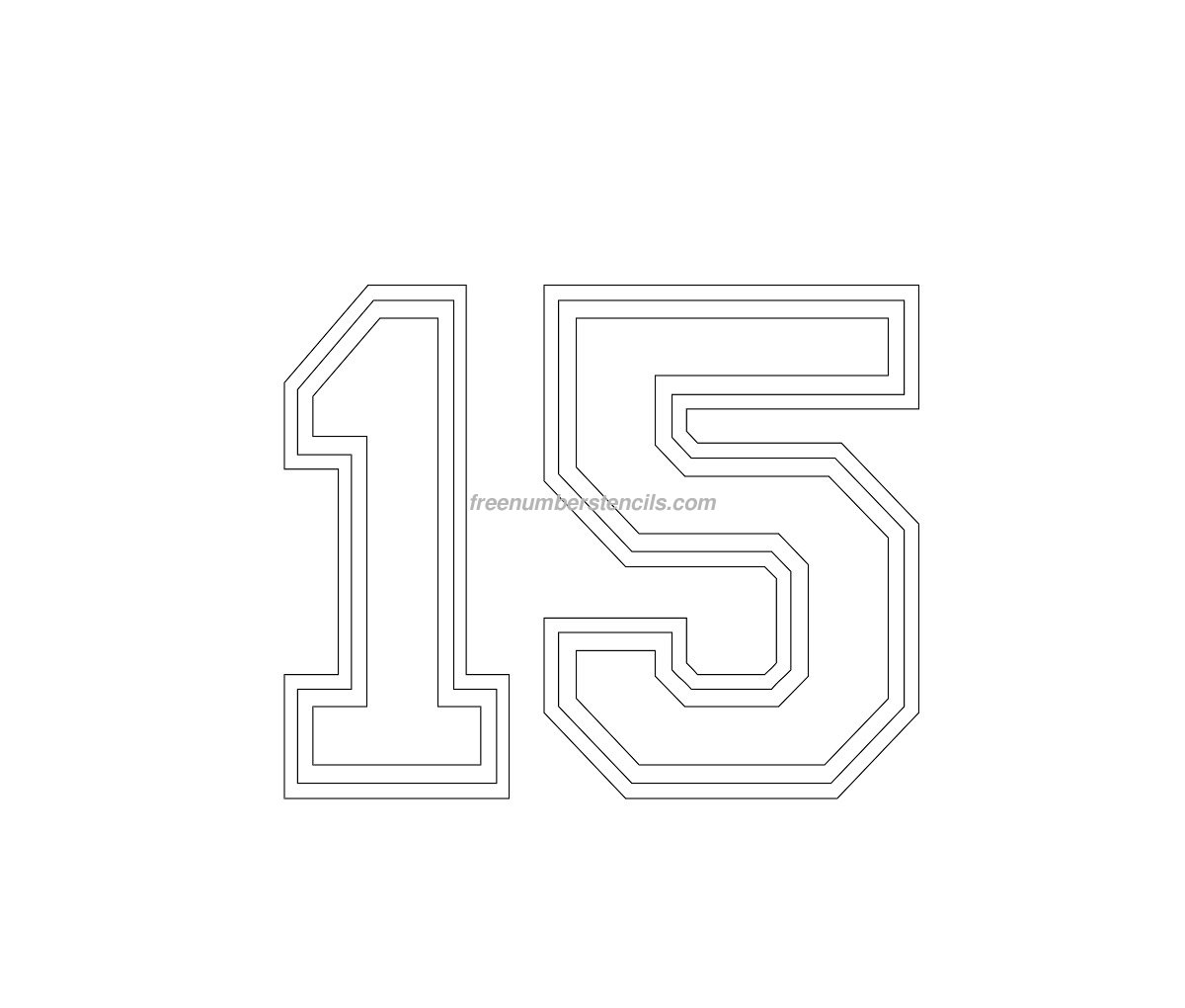 number-15 Varsity Letter Stencil Template on cupcake stencil template, gypsy stencil template, christmas stencil template,