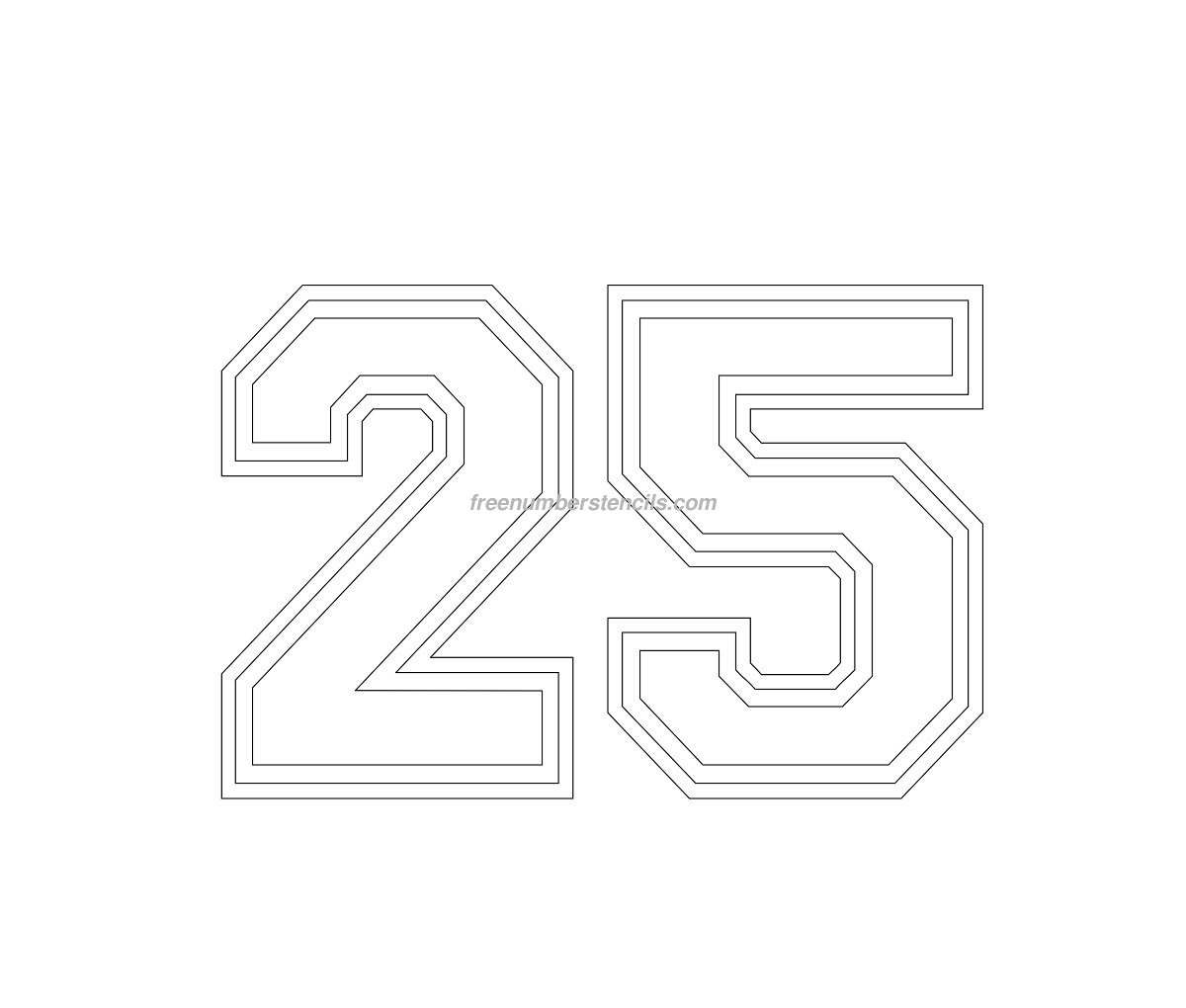 number-25 Varsity Letter Stencil Template on cupcake stencil template, gypsy stencil template, christmas stencil template,