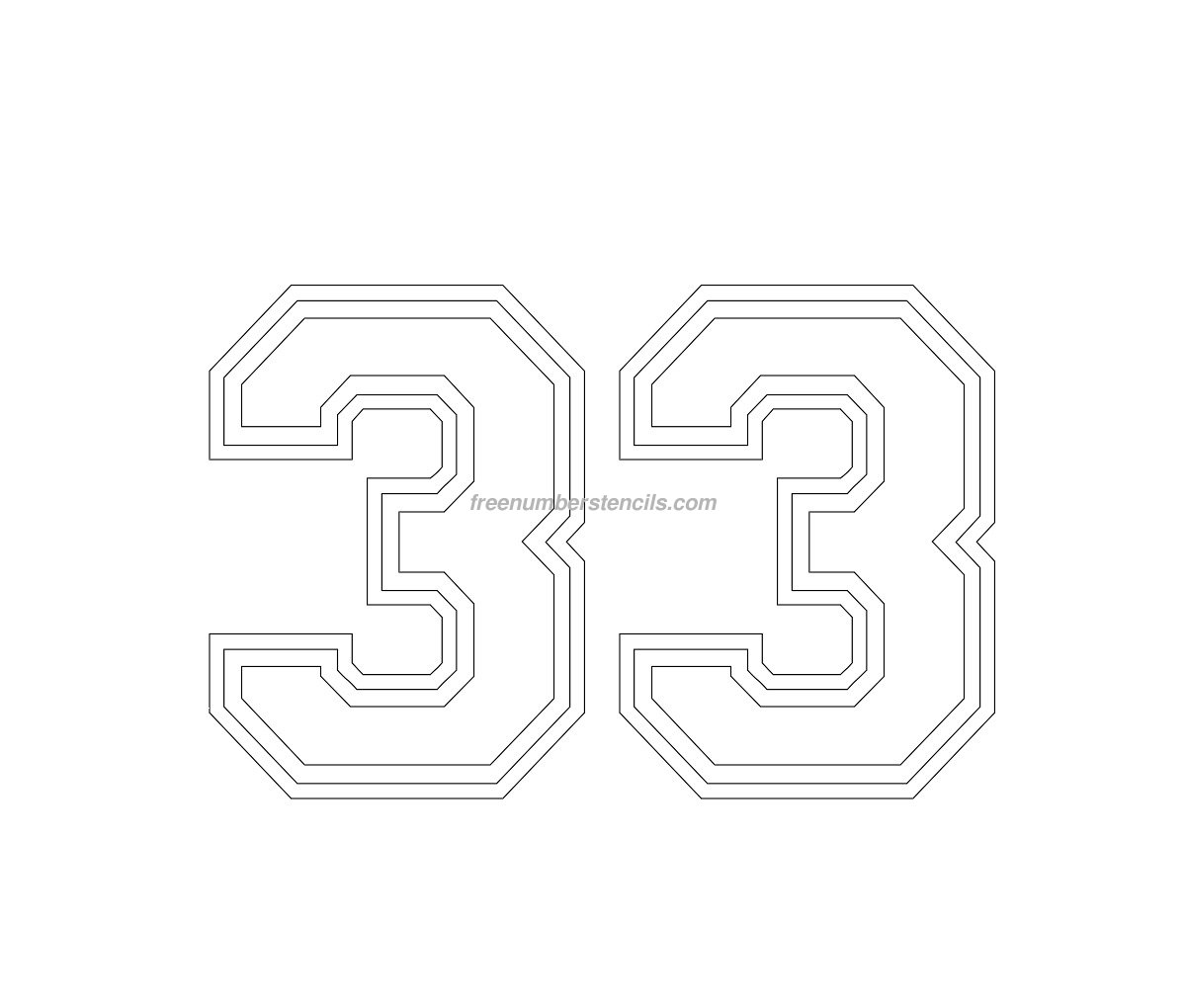 Line Art Jersey : Free varsity number stencil freenumberstencils