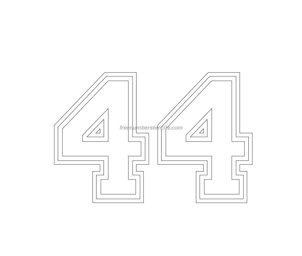 free varsity 44 number stencil