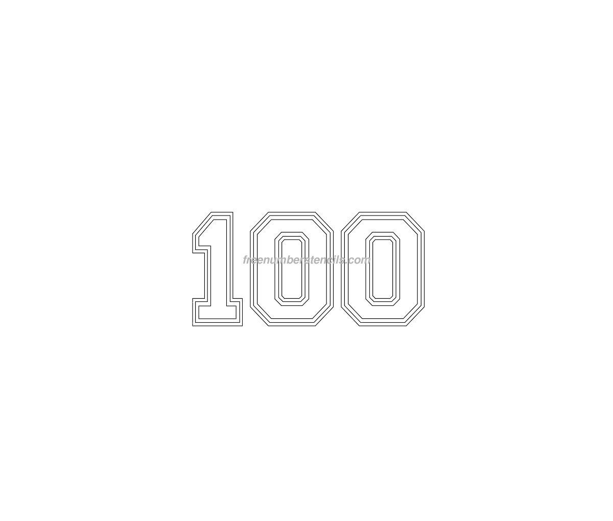 Free Varsity 100 Number Stencil - Freenumberstencils.com