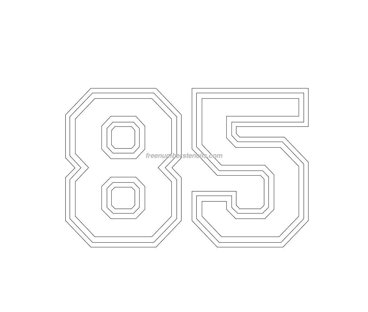 Free Varsity 85 Number Stencil - Freenumberstencils.com
