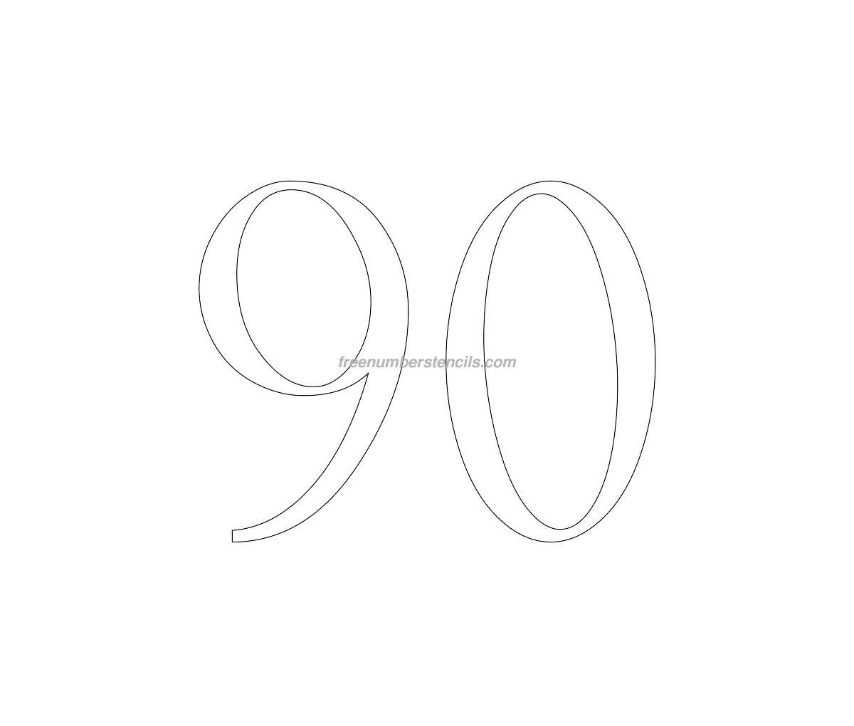 free victorian 90 number stencil