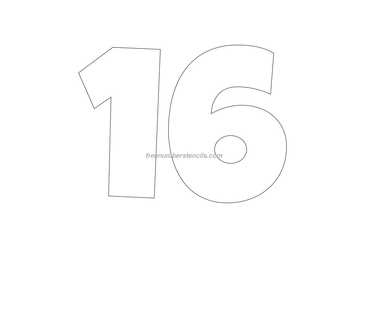 free giant 16 number stencil