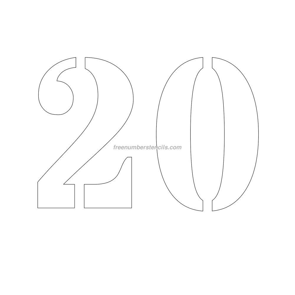 free 10 inch 20 number stencil